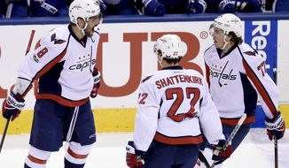 Washington Capitals left wing Alex Ovechkin (8) celebrates his goal with teammates Kevin Shattenkirk (22) and T.J. Oshie (77) during first period NHL hockey round one playoff action against the Washington Capitals, in Toronto on Wednesday, April 19, 2017. (Nathan Denette/The Canadian Press via AP)
