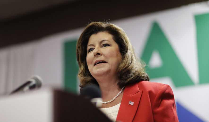 Republican candidate for Georgia's 6th Congressional seat Karen Handel speaks at an election night watch party in Roswell, Ga., Tuesday, April 18, 2017. (AP Photo/David Goldman) ** FILE **