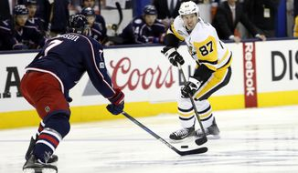 Pittsburgh Penguins' Sidney Crosby plays against the Columbus Blue Jackets during Game 4 of an NHL first-round hockey playoff series Tuesday, April 18, 2017, in Columbus, Ohio. The Blue Jackets beat the Penguins 5-4. (AP Photo/Jay LaPrete)