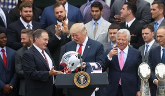 New England Patriots head coach Bill Belichick presents President Donald Trump with a Patriots helmet during a ceremony on the South Lawn of the White House in Washington, Wednesday, April 19, 2017, where the president honored the Super Bowl Champion New England Patriots for their Super Bowl LI victory. Patriots owner Robert Kraft is at right. (AP Photo/Andrew Harnik)