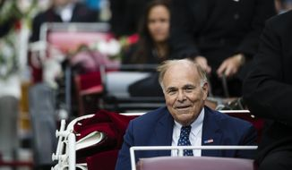 Former Pennsylvania Gov. Ed Rendell rides in a carriage during opening ceremonies for the Museum of the American Revolution in Philadelphia, Wednesday, April 19, 2017. (AP Photo/Matt Rourke)