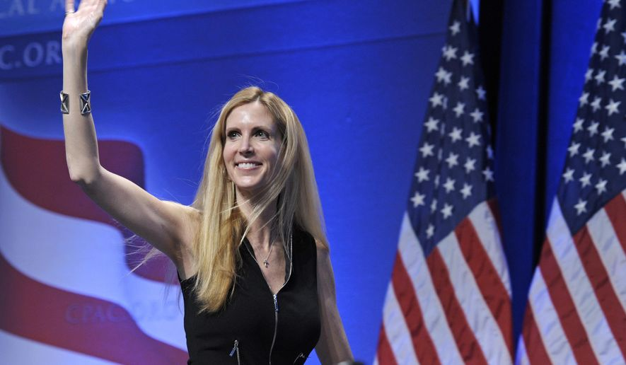 "FILE - In this Feb. 12, 2011 file photo, Ann Coulter waves to the audience after speaking at the Conservative Political Action Conference (CPAC) in Washington. Coulter's planned appearance at the University of California, Berkeley on April 27 has been canceled because of security concerns. UC Berkeley officials say they were unable to find ""a safe and suitable"" venue for the right-wing provocateur, whom campus Republicans had invited to speak. (AP Photo/Cliff Owen, File)"