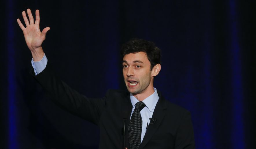 Democratic candidate for Georgia's 6th Congressional Seat Jon Ossoff speaks to supporters during an election-night watch party Tuesday, April 18, 2017, in Dunwoody, Ga. (AP Photo/John Bazemore) ** FILE **