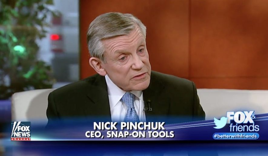 "Snap-on Tools CEO Nick Pinchuk said Wednesday that President Trump's call to ""buy American, hire American"" is like ""music to the ears of manufacturers across the country."" (Fox News)"