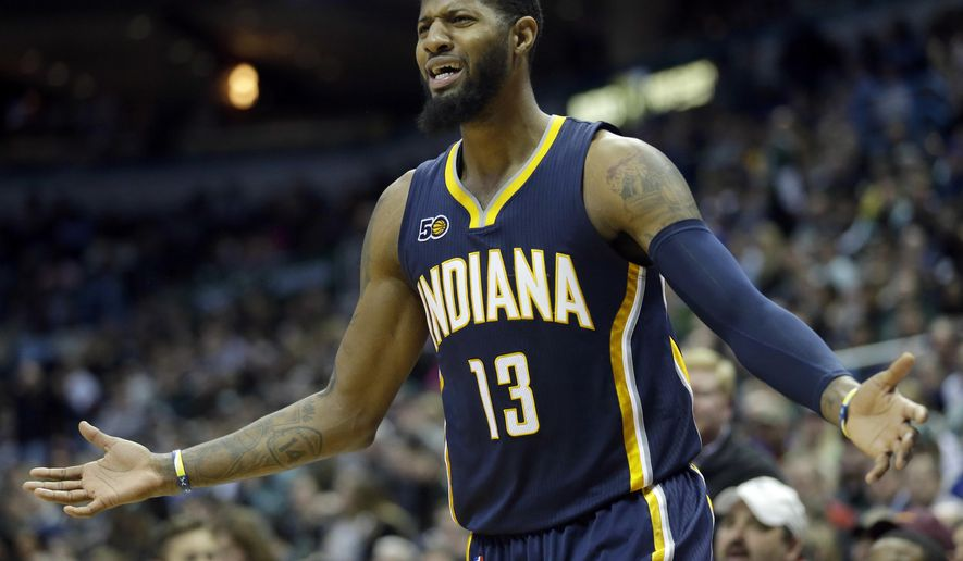 FILE - In this March 10, 2017, file photo, Indiana Pacers' Paul George reacts to a call during the second half of an NBA basketball game against the Milwaukee Bucks, in Milwaukee. Paul George isn't happy. He's upset that the Pacers have to fight their way back from a 2-0 deficit against LeBron James and the Cleveland Cavaliers. And he's upset about what put the Pacers in this hole _ the play of his teammates. (AP Photo/Aaron Gash, File)