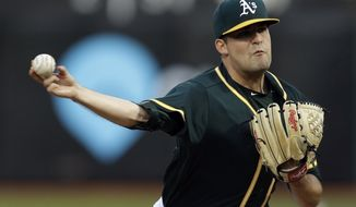 Oakland Athletics pitcher Andrew Triggs works against the Texas Rangers during the first inning of a baseball game Tuesday, April 18, 2017, in Oakland, Calif. (AP Photo/Ben Margot)