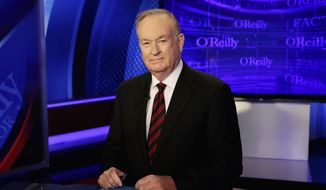"""Host Bill O'Reilly of """"The O'Reilly Factor"""" on the Fox News Channel, poses for photos in the set in New York, in this Oct. 1, 2015, file photo. There was no immediate response from Bill O'Reilly's bosses Wednesday, April 19, 2017, to escalating reports that the Fox News Channel personality will lose his job following accusations he had harassed women. New York magazine said that Rupert Murdoch and his sons James and Lachlan, who run Fox parent 21st Century Fox, had decided that O'Reilly was out and executives were planning  the exit. (AP Photo/Richard Drew, File)"""
