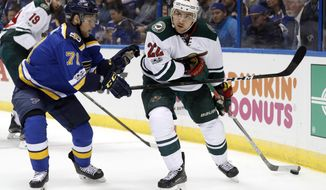 Minnesota Wild's Nino Niederreiter, of Switzerland, looks to pass as St. Louis Blues' Vladimir Sobotka, left, of the Czech Republic, defends during the first period in Game 3 of an NHL hockey first-round playoff series Sunday, April 16, 2017, in St. Louis. (AP Photo/Jeff Roberson)