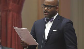 FILE -- In this May 12, 2016 is former state Sen. Sen. Isadore Hall D-Compton, at the Capitol in Sacramento, Calif. Despite Republican opposition, the Senate confirmed Hall's nomination to the Agricultural Labor Relations Board, Thursday, April 20, 2017. (AP Photo/Rich Pedroncelli,file)