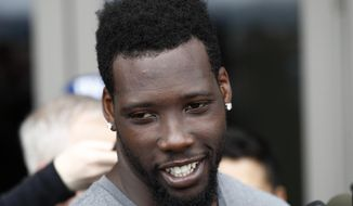 New York Giants' Jason Pierre-Paul talks to reporters during an availability ahead of the NFL Football draft, Thursday, April 20, 2017, in East Rutherford, N.J. (AP Photo/Julio Cortez)
