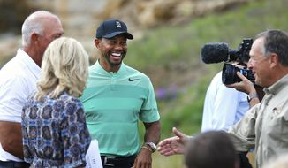 Tiger Woods smiles during a press event for a new golf course designed by Woods, in Hollister, Mo., Tuesday, April 18, 2017. (Guillermo Martinez/The Springfield News-Leader via AP)