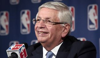 FILE - In this Oct. 23, 2013 file photo, then NBA Commissioner David Stern smiles during a news conference after an NBA board of governors meeting in New York. Stern, 74, is more businessman than sportsman now, advising venture capital firms from his position atop DJS Global Advisors and investing in a number of startups, some of them in sports technology.  (AP Photo/Bebeto Matthews, File)