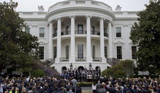 President Donald Trump speaks on the South Lawn of the White House in Washington, Wednesday, April 19, 2017, during a ceremony where he honored the Super Bowl Champion New England Patriots for their Super Bowl LI victory. (AP Photo/Andrew Harnik)