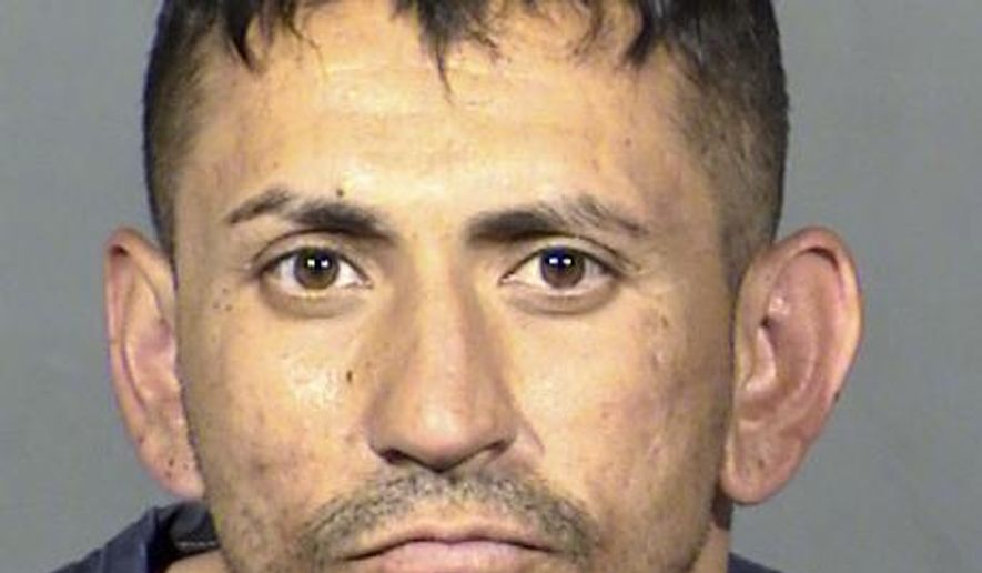 This Clark County Detention Center photo shows Richi Briones, 32, following his arrest Wednesday, April 19, 2017. Briones was jailed on suspicion of three knife attacks that killed one man and wounded another in east of downtown Las Vegas. Police say one would-be victim escaped unharmed. Photo provided by Las Vegas Metropolitan Police Department. (Vegas Metropolitan Police Department via AP Photo)