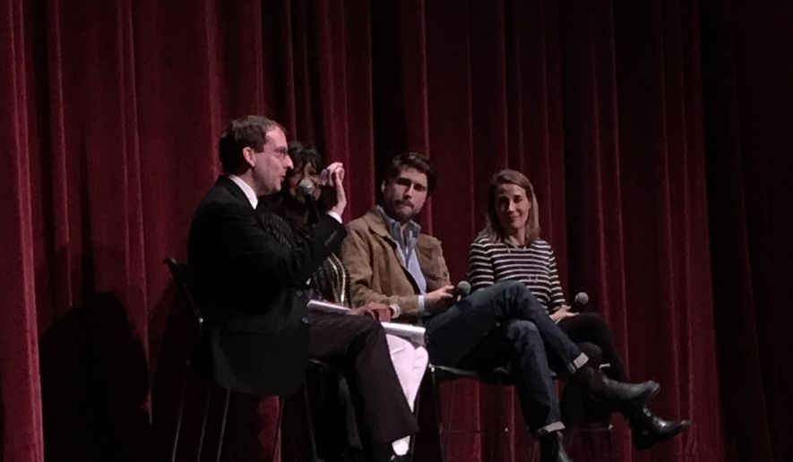 "Chaz Ebert (second from left) and ""They Call Us Monsters"" director Ben Lear (second from right) discuss the film following a screening at the 19th annual Ebertfest in Champaign-Urbana, Illinois, April 21, 2017.  (Eric Althoff/The Washington Times)"