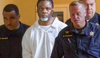 FILE - In this Tuesday, April 18, 2017 file photo, Ledell Lee appears in Pulaski County Circuit Court for a hearing in which lawyers argued to stop his execution which is scheduled for Thursday. Unless a court steps in, Lee and Stacey Johnson are set for execution Thursday night. Lee was sentenced to death after being convicted of killing Debra Reese with a tire iron in February 1993 in Jacksonville. (Benjamin Krain/The Arkansas Democrat-Gazette via AP, File)