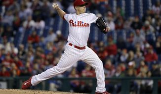 Philadelphia Phillies' Jeremy Hellickson pitches during the third inning of a baseball game against the Atlanta Braves, Friday, April 21, 2017, in Philadelphia. (AP Photo/Matt Slocum)