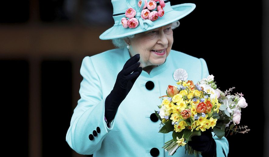 This is a Sunday April 16, 2017 photo of Britain's Queen Elizabeth as she leaves the Easter Sunday service in Windsor Castle, in Windsor England.  Britain's Queen Elizabeth celebrates her 91st birthday on Friday, April 21, 2017. (Peter Nicholls/Pool File via AP)