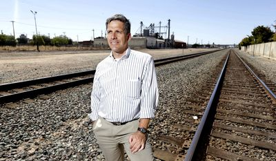 FILE - In this July 15, 2013, file photo, Jeff Morales, chief executive officer of the California High Speed Rail Authority, poses in Fresno, Calif. Morales announced Friday, April 21, 2017, that he is stepping down from his position in June. (AP Photo/Rich Pedroncelli, File)