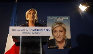 Far-right leader and candidate for the presidential election Marine Le Pen speaks in Paris, Friday, April 21, 2017, one day after the attack that killed one police officer and wounded three other people. Le Pen campaigns against immigration and Islamic fundamentalism. (AP Photo/Michel Euler)