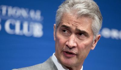 FILE - In this May 15, 2015, file photo, United Airlines Chairman, President and CEO Jeff Smisek, speaks during a panel discussion on unfair international competition at the National Press Club in Washington. Smisek stepped down in 2015 amid an investigation into whether United flew a route between Newark, N.J., and Columbia, S.C., to curry favor with the chairman of the agency that operates New York-area airports. He received $4.9 million in cash severance, along with millions more in stock grants. He also received lifetime flight benefits. (AP Photo/Manuel Balce Ceneta, File)