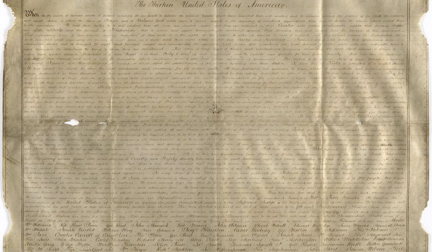 Undated handout photo of a parchment manuscript of the U.S. Declaration of Independence, believed to date from the 1780s and found in a records office in Chichester, southern England. Harvard University researchers say they've discovered a second parchment copy of the Declaration of Independence, The Boston Globe reported Friday, April 21, 2017. (West Sussex Record Office Add Mss 8981 via AP).