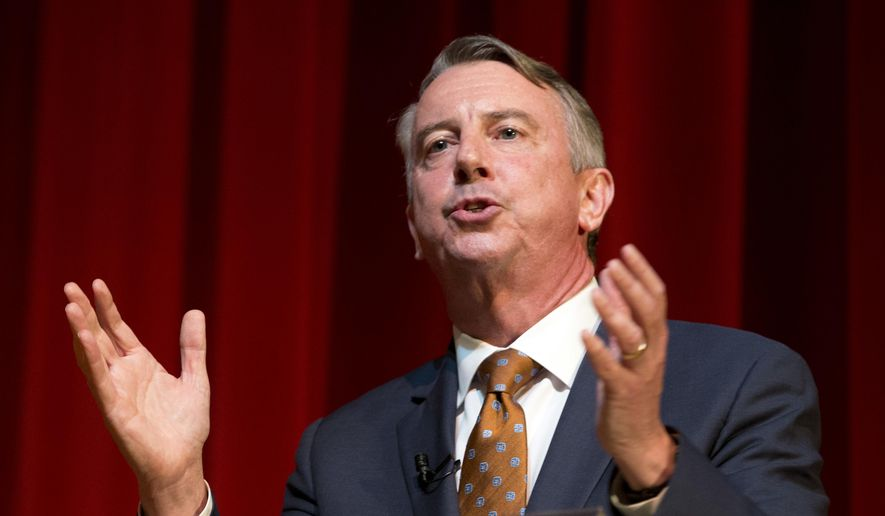 Republican gubernatorial candidate Ed Gillespie speaks during a tea party debate at Goochland High School in Goochland, Va., Saturday, April 22, 2017. He and two others face off in a primary on June 13. (AP Photo/Steve Helber) ** FILE **