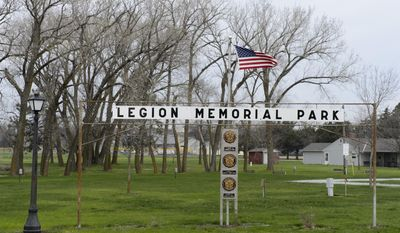 ADVANCE FOR USE SATURDAY, APRIL 22 - This April 12, 2017 photo, shows  Legion Memorial Park in Wilber, Neb., where the American Legion Post is  constructing a new building.(Matt Ryerson/The Journal-Star via AP)