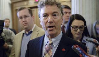 Sen. Rand Paul, R-Ky., speaks to reporters on Capitol Hill in Washington in this April 7, 2017, file photo. (AP Photo/J. Scott Applewhite, file) **FILE**