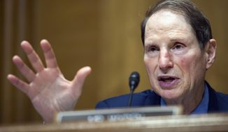 Sen. Ron Wyden, Oregon Democrat, asks a question at a hearing on Capitol Hill in Washington on April 6, 2017. (Associated Press) **FILE**