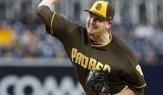 San Diego Padres starting pitcher Trevor Cahill throws to the plate against the Miami Marlins during the first inning of a baseball game in San Diego, Friday, April 21, 2017. (AP Photo/Christine Cotter)