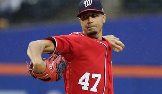 Washington Nationals' Gio Gonzalez (47) delivers a pitch during the first inning of a baseball game against the New York Mets, Saturday, April 22, 2017, in New York. (AP Photo/Frank Franklin II)