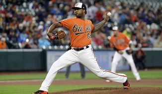 Baltimore Orioles starting pitcher Jayson Aquino throws to the Boston Red Sox in the first inning of a baseball game in Baltimore, Saturday, April 22, 2017. (AP Photo/Patrick Semansky)