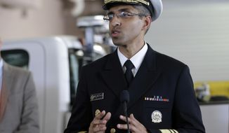 FILE - In this July 25, 2016, file photo, Dr. Vivek Murthy speaks during a news conference at Orange County Mosquito Control, in Orlando, Fla.  The Trump administration has relieved Dr. Vivek Murthy of his duties as U.S. Surgeon General.  (AP Photo/John Raoux)