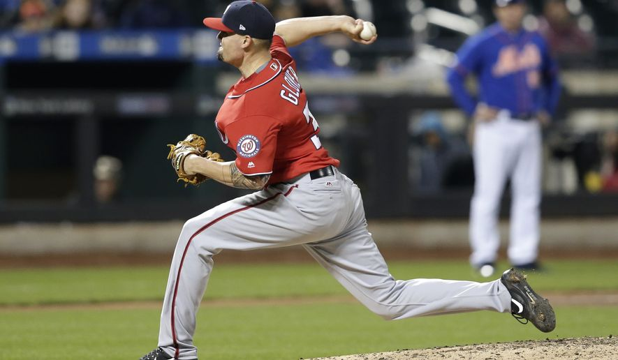 Washington Nationals relief pitcher Koda Glover throws during the ninth inning of the baseball game against the New York Mets at Citi Field, Sunday, April 23, 2017, in New York. The Nationals defeated the Mets 6-3. (AP Photo/Seth Wenig) ** FILE **
