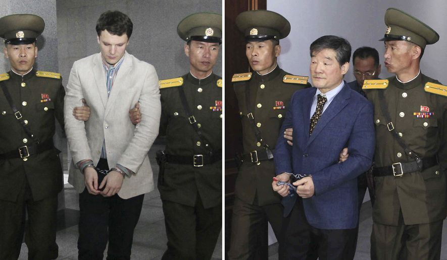 FILE - In this combination of file photos, U.S. citizens Otto Warmbier on March 16, 2016, left, and Kim Dong Chul on April 29, 2016; are escorted at court in Pyongyang, North Korea. North Korea has detained U.S. citizen, Tony Kim, who also goes by his Korean name Kim Sang-duk, officials said Sunday, April 23, 2017, bringing to three the number of Americans now being held there. (AP Photo/Files)