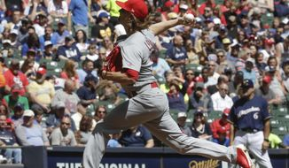 St. Louis Cardinals starting pitcher Mike Leake throws during the first inning of a baseball game against the Milwaukee Brewers Sunday, April 23, 2017, in Milwaukee. (AP Photo/Morry Gash)