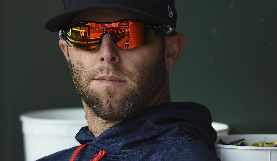 Boston Red Sox's Dustin Pedroia watches from the dugout during a baseball game against the Baltimore Orioles, Sunday, April 23, 2017, in Baltimore. (AP Photo/Gail Burton)