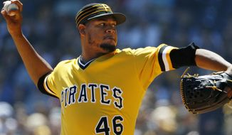 Pittsburgh Pirates starting pitcher Ivan Nova delivers during the first inning of a baseball game against the New York Yankees in Pittsburgh, Sunday, April 23, 2017. (AP Photo/Gene J. Puskar)