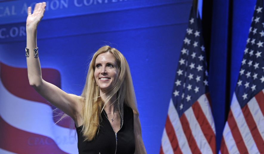 Ann Coulter waves to the audience after speaking at the Conservative Political Action Conference (CPAC) in Washington, Feb. 12, 2011. University of California, Berkeley students who invited Coulter to speak on campus filed a lawsuit Monday April 24, 2017, against the university, saying it is discriminating against conservative speakers and violating students rights to free speech. Campus Republicans invited Coulter to speak at Berkeley on April 27, but Berkeley officials informed the group that the event was being called off for security concerns.  (AP Photo/Cliff Owen, File)