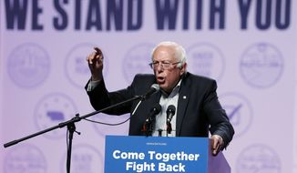 Sen. Bernie Sanders, I-Vt., speaks at a rally for Omaha Democratic mayoral candidate Heath Mello, Thursday, April 20, 2017, in Omaha, Neb. (AP Photo/Charlie Neibergall)