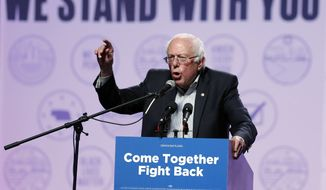 Sen. Bernie Sanders, I-Vt., speaks at a rally for Omaha Democratic mayoral candidate Heath Mello, Thursday, April 20, 2017, in Omaha, Neb. (AP Photo/Charlie Neibergall) ** FILE **
