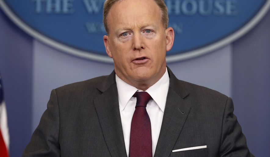 White House Press secretary Sean Spicer speaks to the media during the daily briefing in the Brady Press Briefing Room of the White House in Washington, Monday, April 24, 2017. (AP Photo/Pablo Martinez Monsivais)