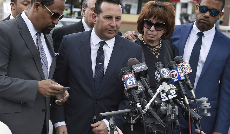Aaron Hernandez's defense attorneys, from left, Ronald Sullivan, Jose Baez, Linda Kenney Baden and Robert Proctor speak after a private service for Hernandez at O'Brien Funeral Home, Monday, April 24, 2017, in Bristol, Conn. The former New England Patriots tight end was found hanged in his cell in a maximum-security prison on Wednesday. (AP Photo/Jessica Hill)