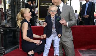 Actor Chris Pratt, right, is joined by his wife, actress, Anna Faris and their son Jack during a ceremony to award Pratt a star on the Hollywood Walk of Fame on Friday, April 21, 2017, in Los Angeles. (Photo by Chris Pizzello/Invision/AP)