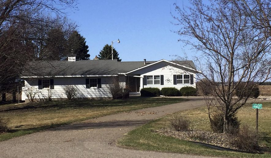 ADVANCE FOR SATURDAY APRIL 29 AND THEREAFTER - Joseph Thomas Hawkinson, a fugitive since March 2014, and his girlfriend, Gladys Rojas, moved into this home in Marshan Township in rural Dakota County, Minnesota in 2016. Hawkinson, 29, a two-time convicted felon wanted for violating a condition of his parole, assumed someone else's identity and moved to rural Dakota County where he managed to mix back into society and stay on the lam for three years by living a regular working man's life and keeping out of trouble. April 2017 photo. (Nick Ferraro/Pioneer Press via AP)