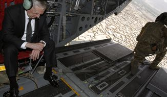 U.S. Defense Secretary Jim Mattis checks his watch as he arrives via helicopter at Resolute Support headquarters in Kabul, Afghanistan Monday, April 24, 2017. (Jonathan Ernst/Pool Photo via AP)