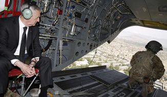 U.S. Defense Secretary Jim Mattis looks out over Kabul as he arrives via helicopter at Resolute Support headquarters in Kabul, Afghanistan Monday, April 24, 2017. (Jonathan Ernst/Pool Photo via AP)