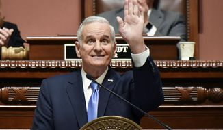 FILE - In this Jan. 23, 2017, file photo, Minnesota Gov. Mark Dayton delivers his State of the State address in St. Paul, Minn. All eyes at the Minnesota Legislature are on the budget before they adjourn May 22. Dayton is one of the men who will play a large role in crafting it. (Glen Stubbe/Star Tribune via AP, File)