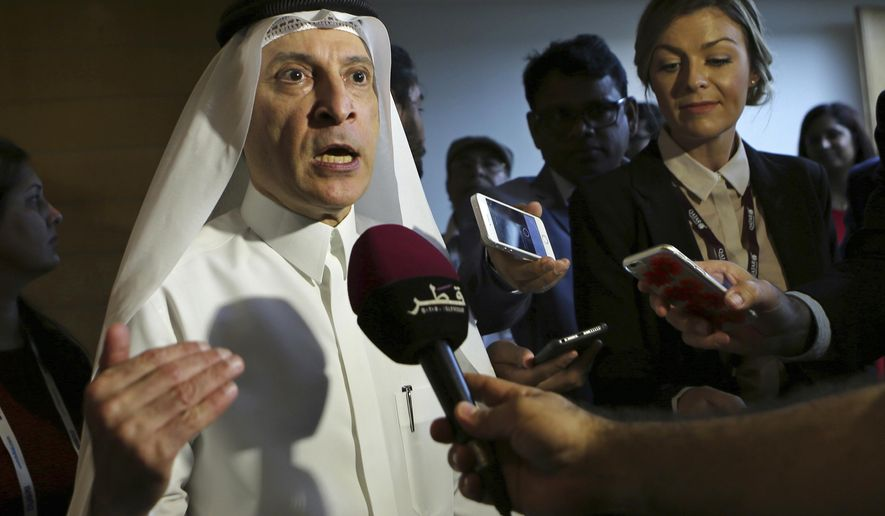 Qatar Airways CEO Akbar al-Baker speaks at a press conference during the Arabian Travel Market Exhibition in Dubai, United Arab Emirates, Monday, April 24, 2017. Al-Baker said Monday that passenger numbers to the United States have dipped slightly over fears by some Muslim passengers that their visas may be rejected upon arrival. (AP Photo/Kamran Jebreili)